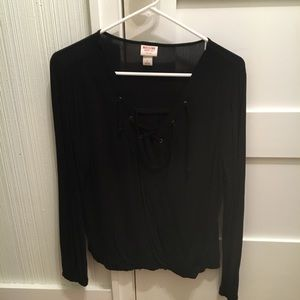 Mossimo Black Faux Wrap Tie Front Top